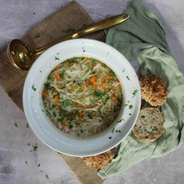 Slow cooker chicken noodle soup (gluten free, dairy free)