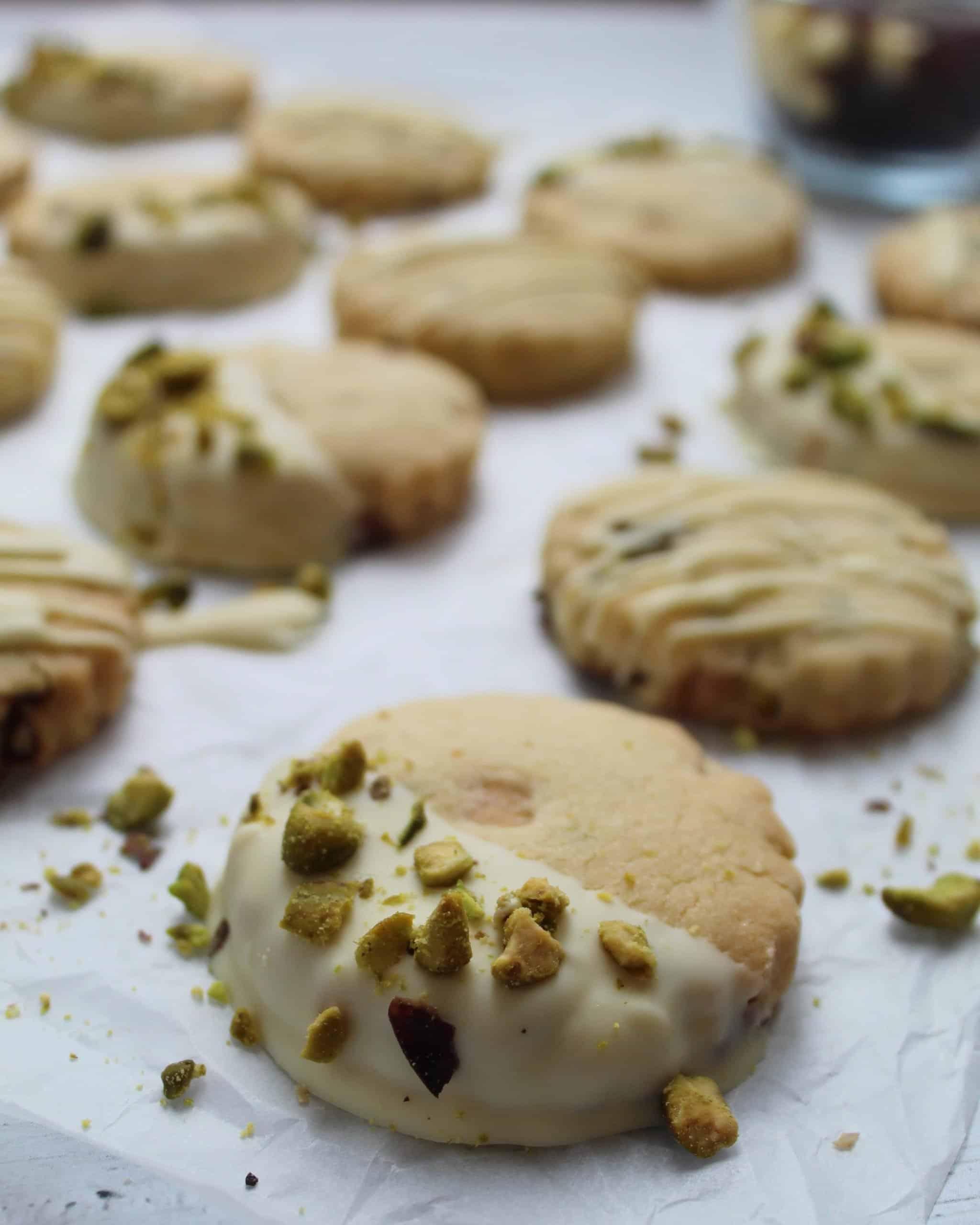 gluten free shortbread recipe with white chocolate pistachio cranberry 18