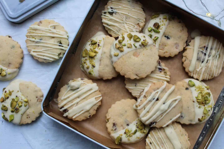 gluten free shortbread recipe with white chocolate pistachio cranberry 64