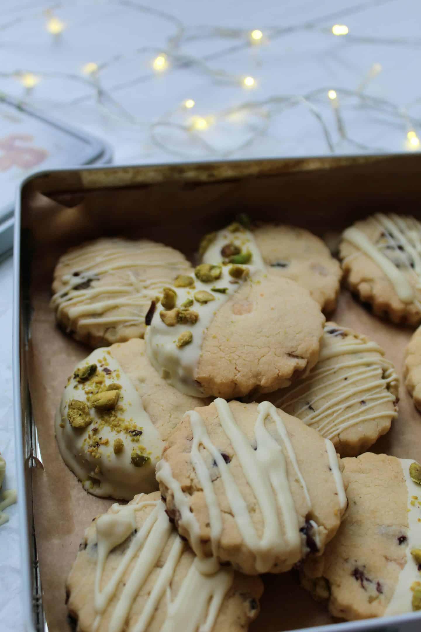 gluten free shortbread recipe with white chocolate pistachio cranberry