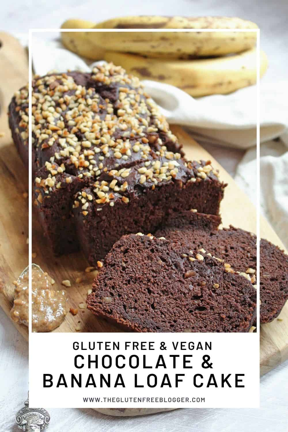 gluten free and vegan chocolate and banana loaf cake dairy free baking