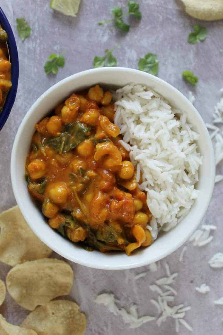 Gluten free and vegan chickpea curry