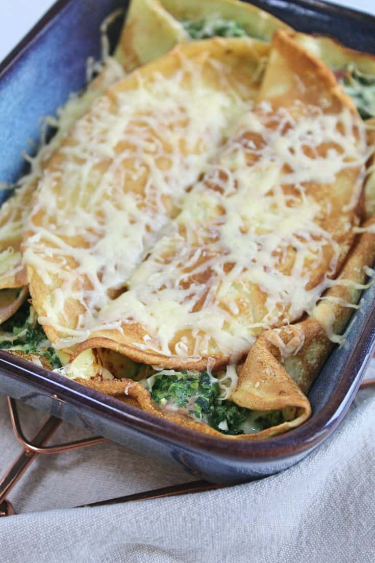 Gluten free baked savoury pancakes with ham, cheese & spinach