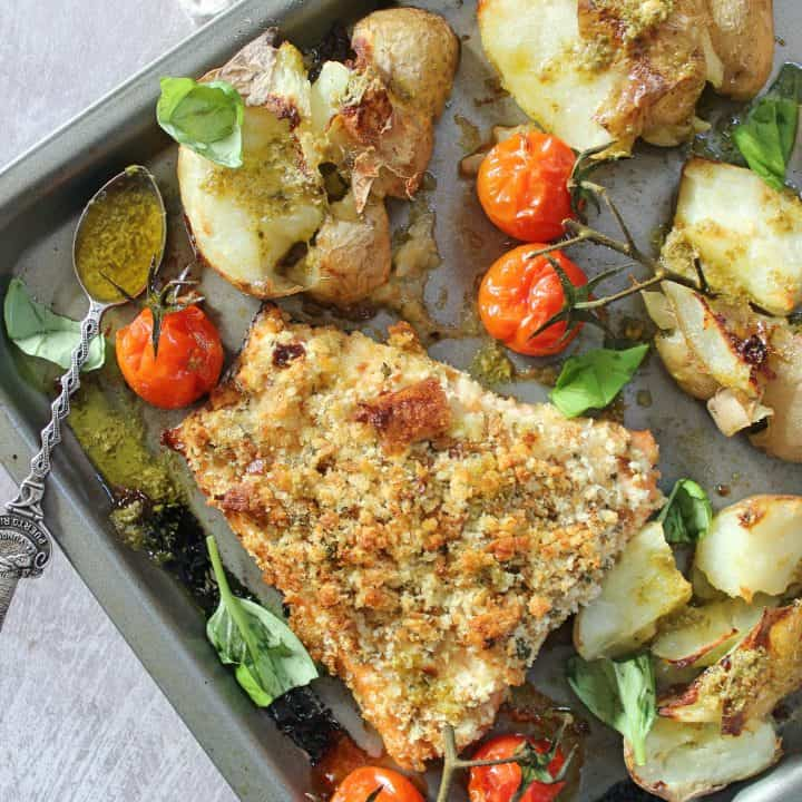 gluten free herb crusted salmon with smashed potatoes tray bake dinner